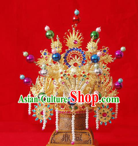 Handmade Chinese Ancient Goddess Hat Queen Tassel Phoenix Coronet Hairpins Traditional Hanfu Hair Accessories for Women
