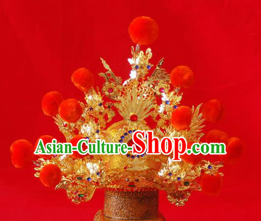 Handmade Chinese Traditional Immortals Golden Helmet Hair Accessories Ancient Swordsman Hairdo Crown for Men