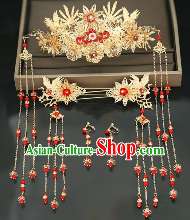 Handmade Chinese Ancient Wedding Hair Crown Hairpins Traditional Bride Hanfu Hair Accessories for Women