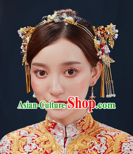 Handmade Chinese Wedding Tassel Golden Hair Clasp Hairpins Ancient Traditional Hanfu Hair Accessories for Women