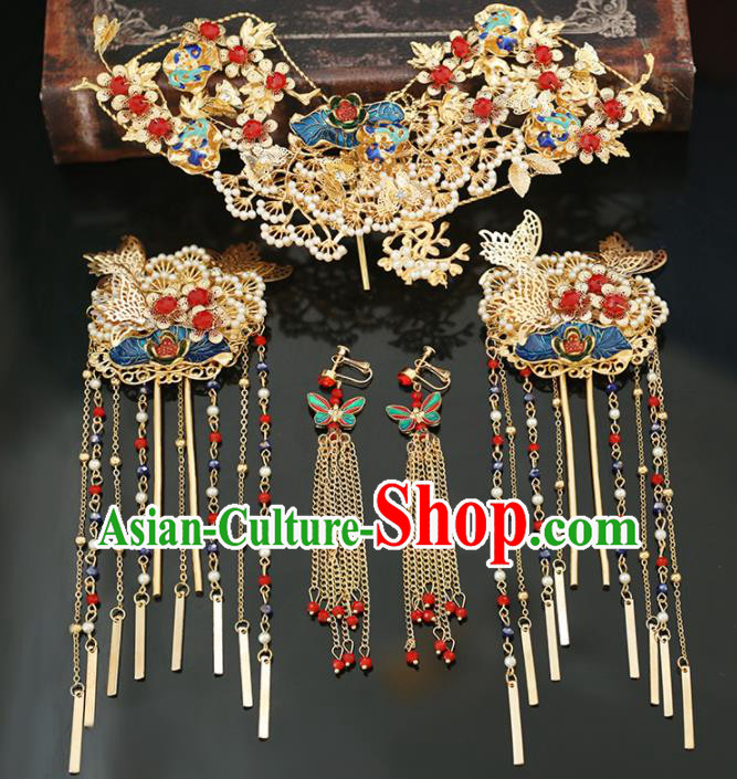 Handmade Chinese Ancient Wedding Hairpins Blueing Lotus Hair Crown Traditional Bride Hanfu Hair Accessories for Women