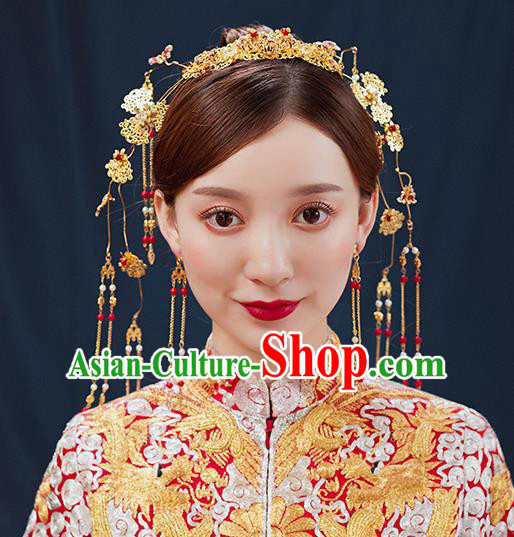 Handmade Chinese Wedding Golden Hair Clasp Tassel Hairpins Ancient Traditional Hanfu Hair Accessories for Women