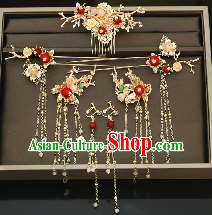 Handmade Chinese Ancient Wedding Hair Comb Tassel Hairpins Traditional Bride Hanfu Hair Accessories for Women
