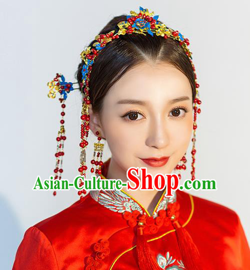 Handmade Chinese Wedding Blueing Hair Clasp Tassel Hairpins Ancient Traditional Hanfu Hair Accessories for Women