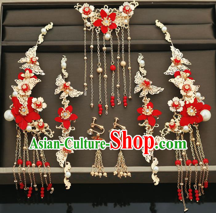 Handmade Chinese Ancient Wedding Butterfly Hair Claws Tassel Hairpins Traditional Bride Hanfu Hair Accessories for Women