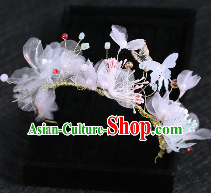 Top Grade Handmade Baroque Princess Silk Flowers Royal Crown Wedding Bride Hair Accessories for Women