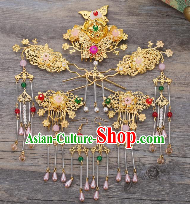 Handmade Chinese Ancient Wedding Bride Golden Hair Combs Tassel Hairpins Traditional Hanfu Hair Accessories for Women