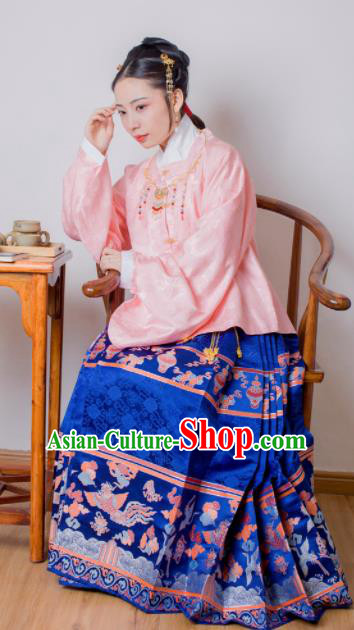 Chinese Ancient Princess Pink Brocade Blouse and Blue Skirt Traditional Ming Dynasty Imperial Consort Historical Costume for Women