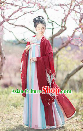 Chinese Ancient Nobility Lady Embroidered Red Hanfu Dress Traditional Tang Dynasty Court Princess Historical Costume for Women