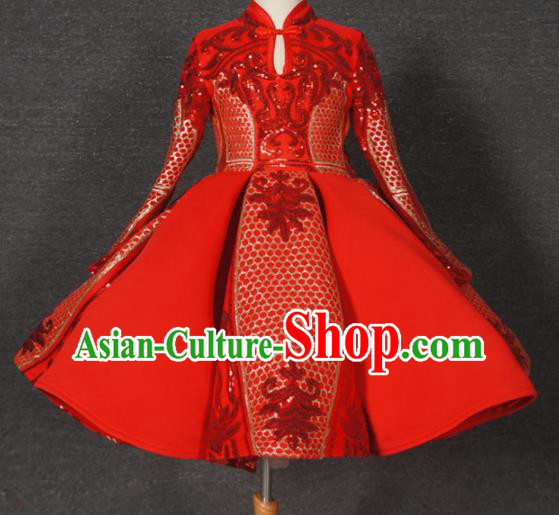 Top Grade Chinese Stage Performance Costume Catwalks Dance Embroidered Red Full Dress for Kids