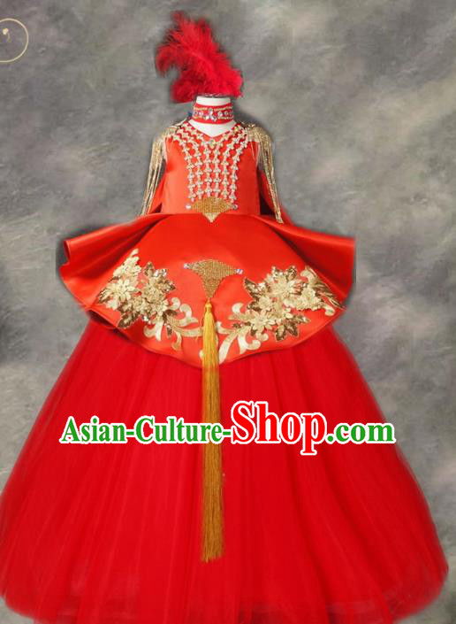Top Grade Chinese Stage Performance Costume Catwalks Dance Embroidered Red Long Full Dress for Kids