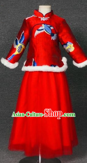 Top Grade Chinese Stage Performance Red Costume Catwalks Dance Embroidered Full Dress for Kids