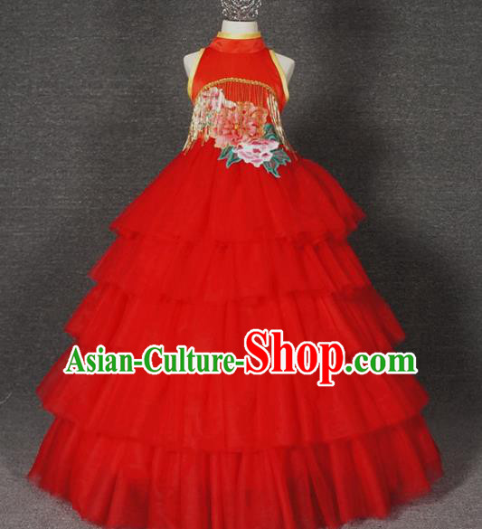 Top Grade Chinese Stage Performance Red Full Dress Catwalks Dance Embroidered Costume for Kids