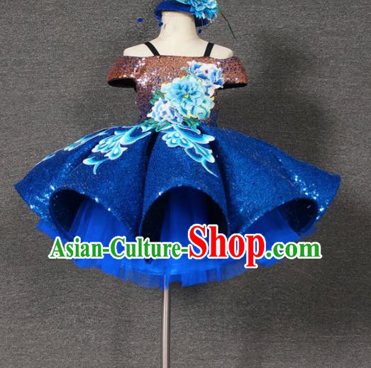 Top Grade Chinese Stage Performance Blue Bubble Full Dress Catwalks Dance Embroidered Costume for Kids