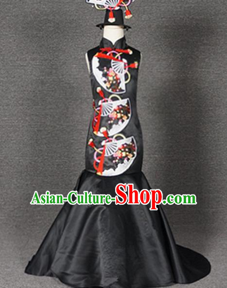 Top Grade Chinese Stage Performance Black Qipao Full Dress Catwalks Dance Embroidered Costume for Kids