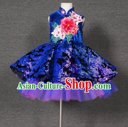 Top Grade Chinese Stage Performance Royalblue Paillette Full Dress Catwalks Dance Embroidered Costume for Kids