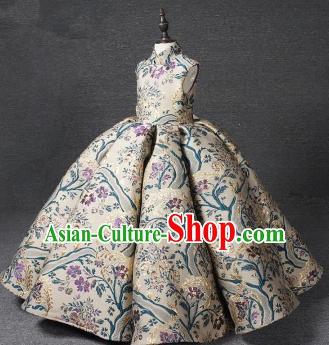 Chinese Stage Performance Bubble Full Dress Catwalks Modern Fancywork Dance Costume for Kids