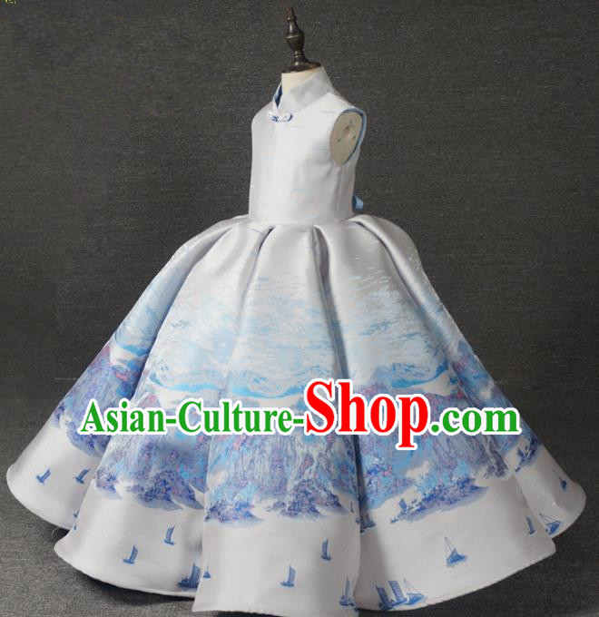 Chinese Stage Performance White Bubble Full Dress Catwalks Modern Fancywork Dance Costume for Kids
