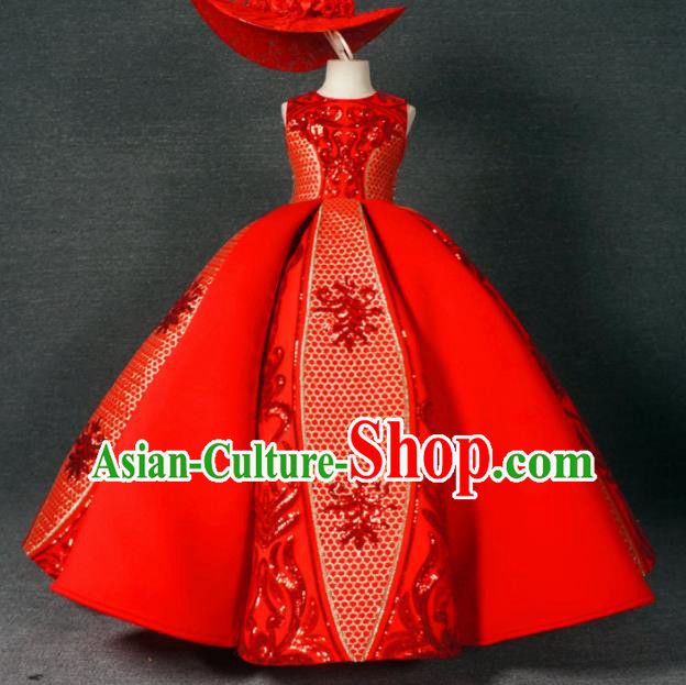 Chinese Stage Performance Embroidered Red Bubble Full Dress Catwalks Modern Fancywork Dance Costume for Kids