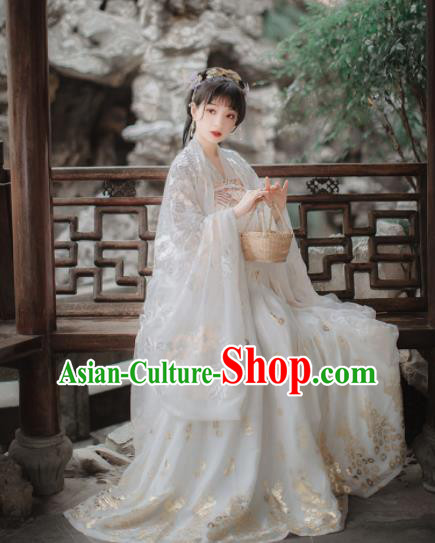Chinese Tang Dynasty Court Princess Historical Costume Traditional Ancient Peri Goddess White Hanfu Dress for Women