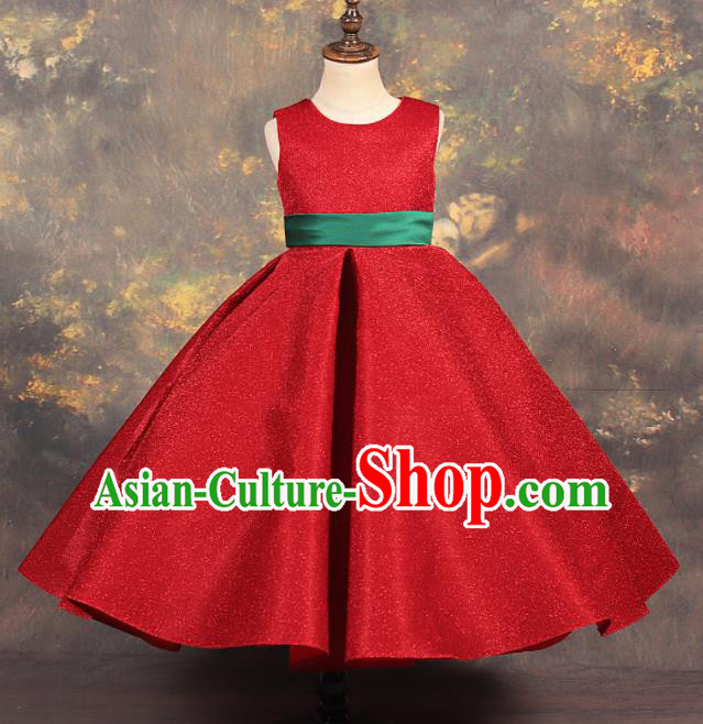 Professional Catwalks Stage Show Dance Red Dress Modern Fancywork Compere Court Princess Costume for Kids