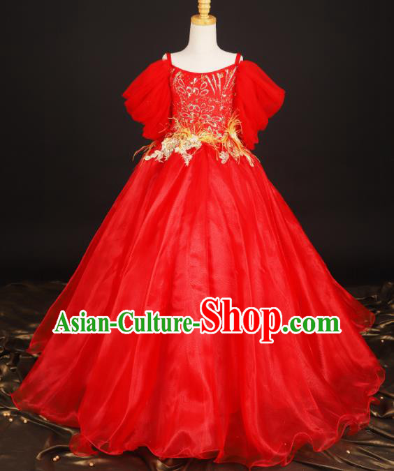 Professional Girls Compere Waltz Dance Red Full Dress Modern Fancywork Catwalks Stage Show Costume for Kids