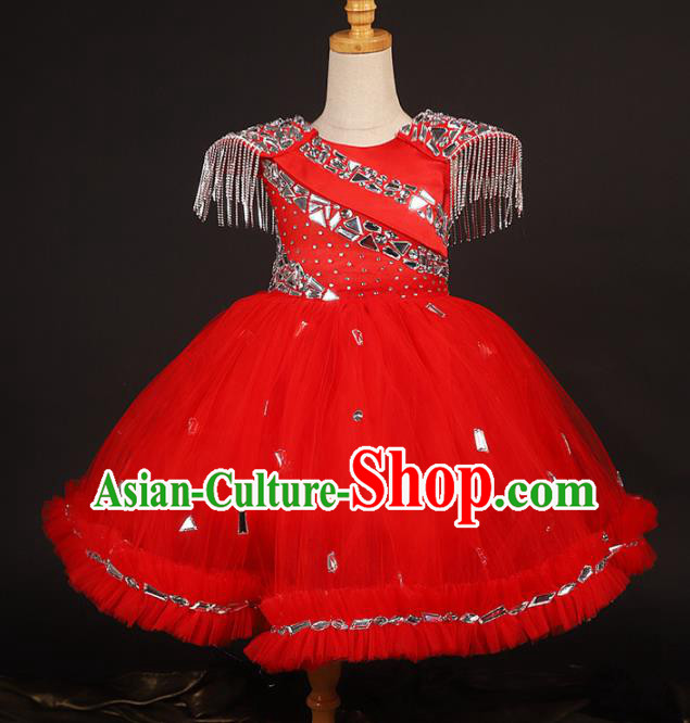 Professional Catwalks Stage Show Dance Red Veil Dress Modern Fancywork Compere Court Princess Costume for Kids