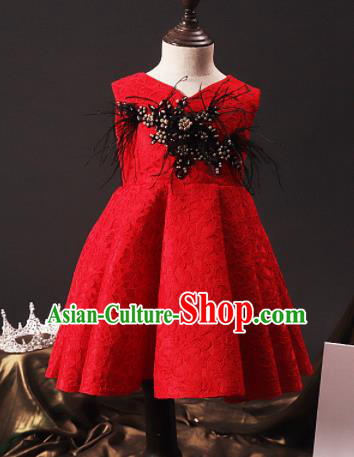 Professional Girls Catwalks Waltz Dance Red Short Dress Modern Fancywork Compere Stage Show Costume for Kids