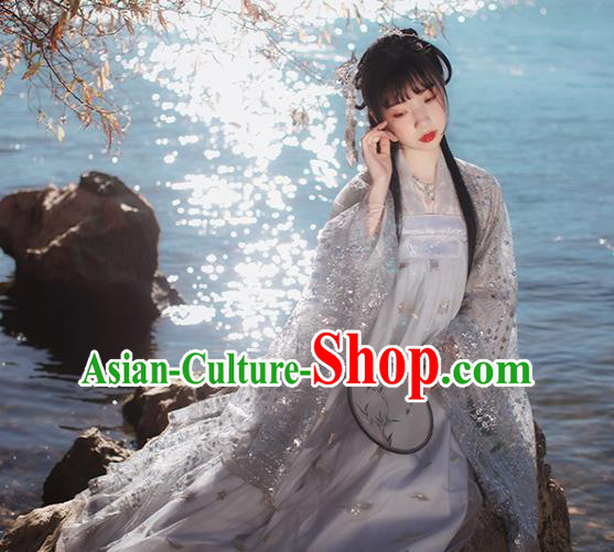 Chinese Traditional Ancient Peri Goddess Grey Hanfu Dress Tang Dynasty Court Princess Historical Costume for Women