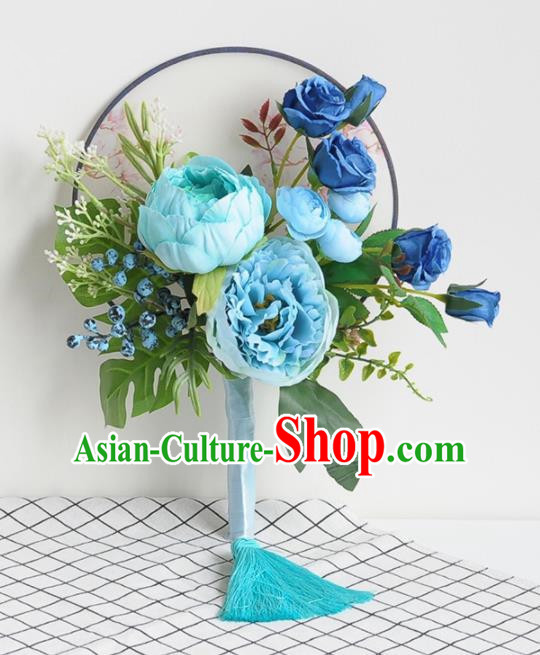 Handmade Chinese Classical Wedding Palace Fans Bride Holding Blue Peony Round Fans for Women