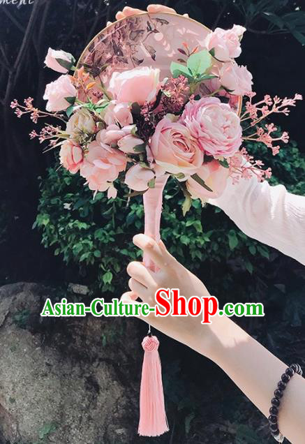 Handmade Chinese Classical Wedding Palace Fans Bride Holding Pink Peony Round Fans for Women