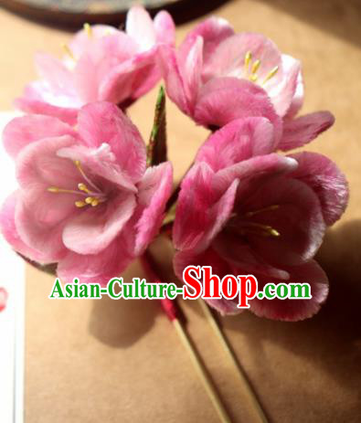 Chinese Handmade Pink Velvet Peach Blossom Hairpins Ancient Palace Headwear for Women