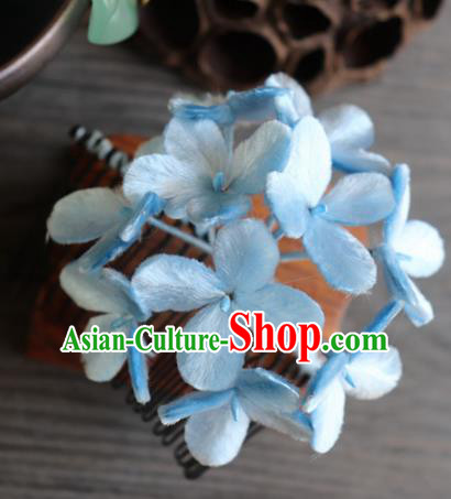 Chinese Handmade Blue Velvet Hydrangea Hairpins Ancient Palace Headwear for Women