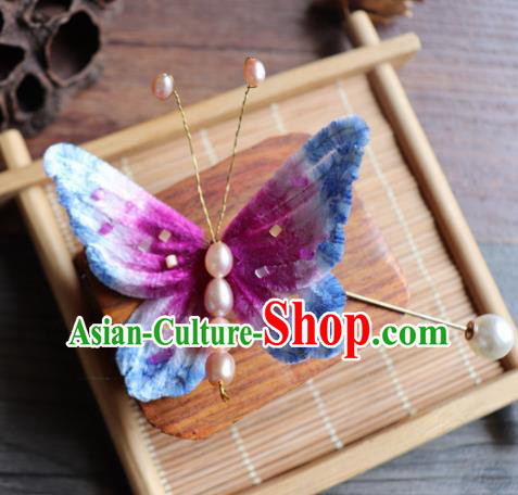Handmade Chinese Classical Velvet Butterfly Brooch Ancient Palace Breastpin for Women