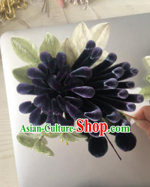 Chinese Handmade Purple Velvet Chrysanthemum Hairpins Ancient Palace Hair Accessories Headwear for Women