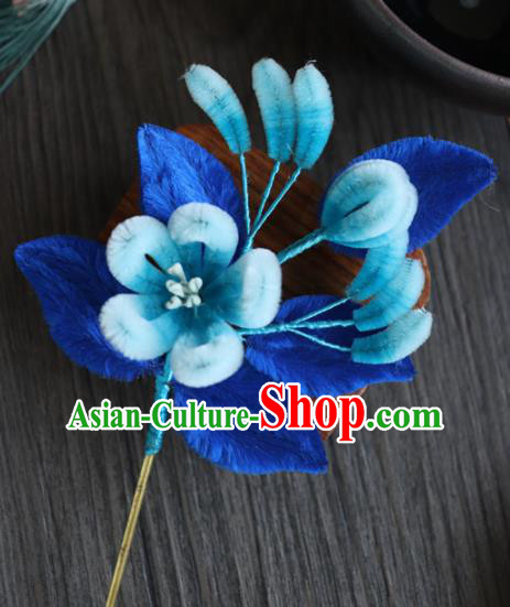 Chinese Handmade Blue Velvet Flowers Hairpins Ancient Palace Hair Accessories Headwear for Women