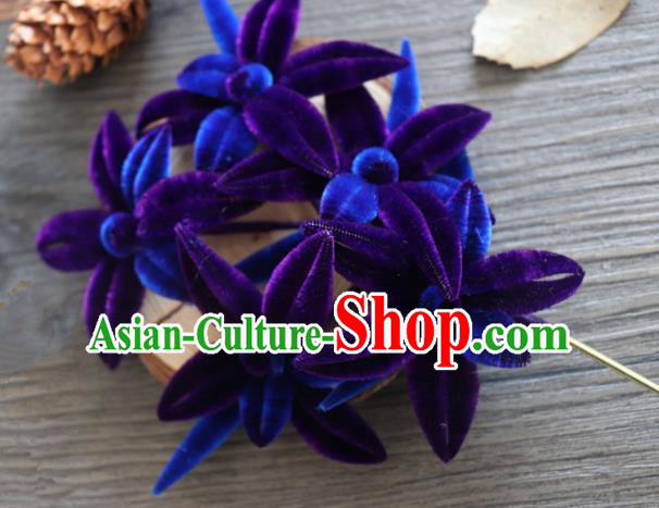 Chinese Handmade Purple Velvet Flowers Hairpins Ancient Palace Hair Accessories Headwear for Women