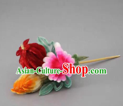 Chinese Handmade Velvet Pomegranate Hairpins Ancient Palace Hair Accessories Headwear for Women
