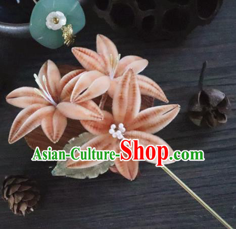 Chinese Handmade Orange Velvet Flowers Hairpins Ancient Palace Queen Hair Accessories Headwear for Women
