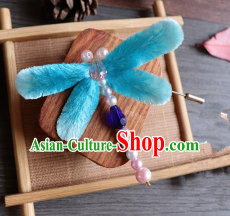 Handmade Chinese Classical Blue Velvet Butterfly Brooch Ancient Palace Breastpin for Women