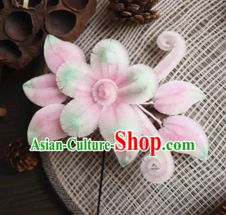 Chinese Handmade Wedding Pink Velvet Flowers Hairpins Ancient Palace Queen Hair Accessories Headwear for Women