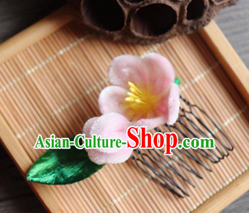 Chinese Handmade Wedding Pink Velvet Peach Flower Hair Comb Ancient Palace Queen Hair Accessories Headwear for Women