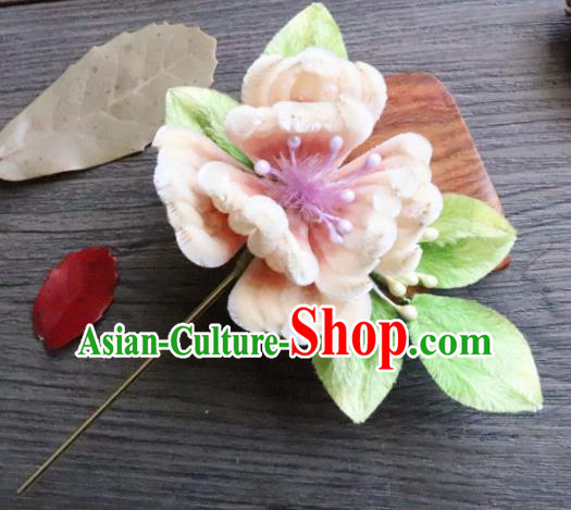 Chinese Handmade Wedding Pink Velvet Begonia Hairpins Ancient Palace Queen Hair Accessories Headwear for Women
