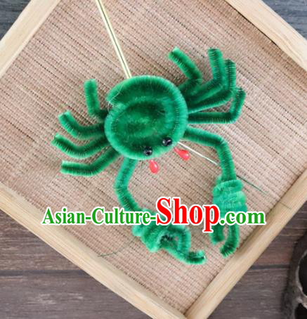 Chinese Handmade Green Velvet Crab Hairpins Ancient Palace Queen Hair Accessories Headwear for Women