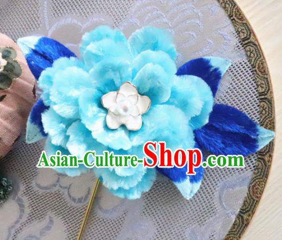 Chinese Handmade Blue Velvet Peony Hairpins Ancient Palace Queen Hair Accessories Headwear for Women