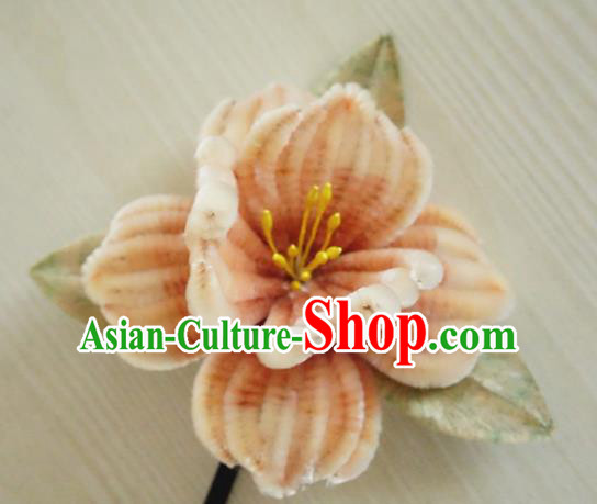Chinese Handmade Pink Velvet Flowers Hairpins Ancient Palace Queen Hair Accessories Headwear for Women