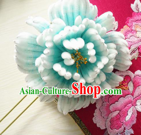 Chinese Handmade Green Velvet Peony Hairpins Ancient Palace Queen Hair Accessories Headwear for Women