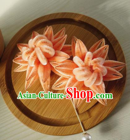 Chinese Handmade Palace Pink Velvet Chrysanthemum Hairpins Ancient Queen Hair Accessories Headwear for Women