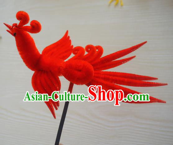 Chinese Handmade Palace Red Phoenix Velvet Hairpins Ancient Queen Hair Accessories Headwear for Women