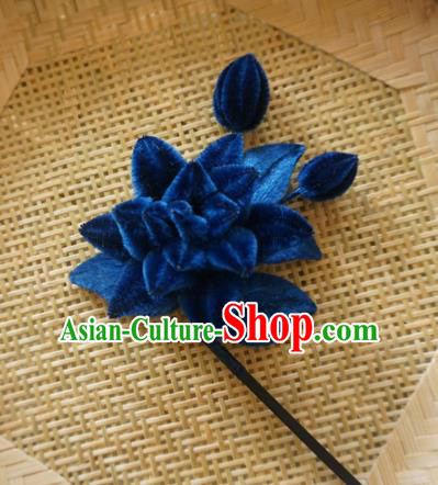 Chinese Handmade Palace Navy Velvet Lotus Hairpins Ancient Queen Hair Accessories Headwear for Women